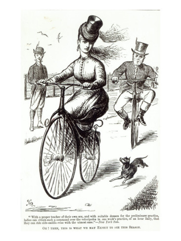 As early as the 1860s, new technologies were allowing women to transcend the social limitations of gender... in as much as it was permissible to ride a bicycle sidesaddle while swaddled in slightly less constricting petticoats, corsets, chemises and gowns.